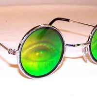 SALE-VTG 90s Hologram Eyes Round Sunglasses
