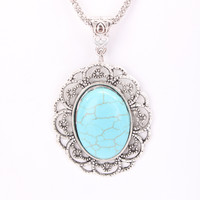 Turquoise Centered Pendant Intricate Design Thin Mesh Necklace