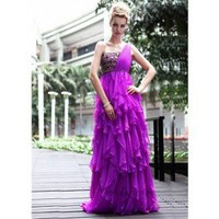 A-Line One-Shoulder Floor-Length Chiffon Prom Dress SAL0934