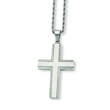 Stainless Steel Laser Cut Edges Cross Pendant Necklace SRN732