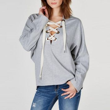 Women Fashion Ladies Sexy Batwing Long Sleeve Plunge V Neck Lace Up Hoodie Sweats Sweatshirt Hooded Tops Blouse Pullover