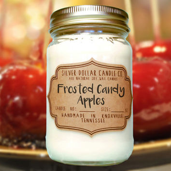 Candy Apple 16oz Scented Candle, Fall Candles, Fall, Mason Jar Candle, Fall Scented Candles, Candy Apple, Thanksgiving gift, fall gift
