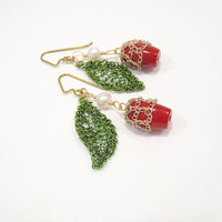 Red Cherry Earrings Wire Crichet Green Leaf with Red Berry Coral and Pearl Nature Inspired Jewelry