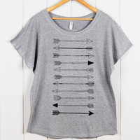 Women's ARROW Shirt- Loose Fitting Sexy T Shirt- Off the Shoulder Top- Arrow Graphic Tee- Women's Blouse