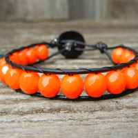Beaded Leather Single Wrap Bracelet with Tangerine Orange Czech Glass Beads on Black Leather for Halloween