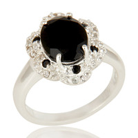 925 Sterling Silver Black Spinel And White Topaz Gemstone Cocktail Ring