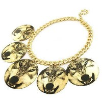Printed Wolf Circle Dangle Gold Necklace