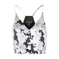 Silk Floral Print Cropped Cami by Topshop Reclaim - Topshop Reclaim - Clothing