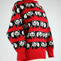 1980's panda bear sweater 100% red and black striped wool knit Picks 80's top Scotland made long sleeve animal novelty print size Medium 10