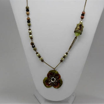 Flower Necklace, Beaded Flower Necklace, Hand Painted Flower Necklace, Necklace and Matching Earring Set.