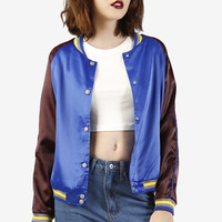 Satin Bomber Baseball Jacket