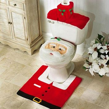 3pcs/lot Christmas Toilet Seat Cover Decoration Bathroom Santa Claus Toilet 2018 New Year Home Decoration Christmas Gifts