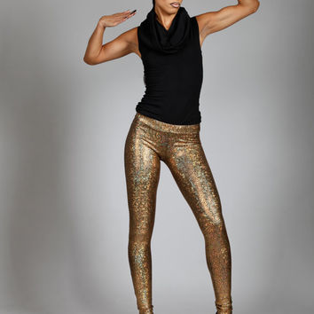 Gold Hologram Leggings w. Jeans Back, Holographic Metallic Disco Pants, Stage Clothing, Sexy Dance Wear, Glam Rock Clothing, by LENA QUIST