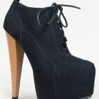 Qupid PRATT-02 Platform Wooden High Heel Stiletto Lace Up Oxford Ankle Boot Bootie:Amazon:Shoes