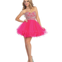 Fuchsia Beaded Bodice Chiffon Dress 2015 Homecoming Dresses