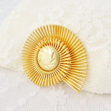 Western Germany Scarf Clip Gold Tone Fanned Design Signed Vintage Collectible Gift Item 1284