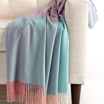 Pastel Color Block Cashmere Blanket