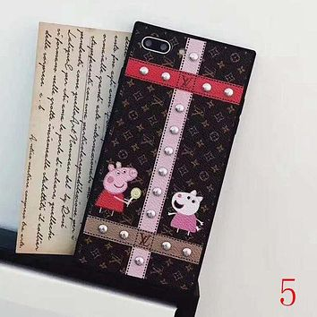 LV Louis Vuitton X Peppa Pig Popular Women Men Simple Plaid Print iPhone Phone Cover Case For iphone 6 6s 6plus 6s-plus 7 7plus 8 8plus X I/A