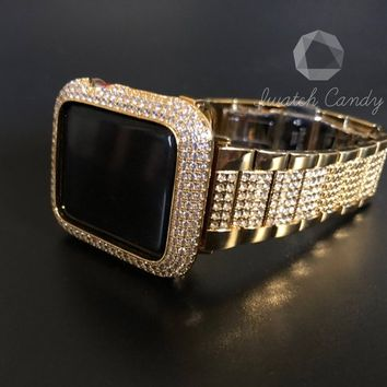 Apple Watch Band 40mm 44mm Series 4 Womens Mens Gold Stainless Steel  Rhinestone Diamonds Iced Out Crystal Iwatch Bling Smart Watch