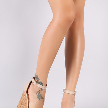 Cross Band Cork Platform Wedge | UrbanOG