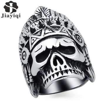 Jiayiqi Punk Men's Ring Titanium Steel Finger Ring The Indians Chief Ring for Men Unique Jewelry Personality Gift