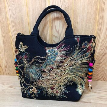 Shiny Sequins Peacock Embroidered Canvas Tote Bag
