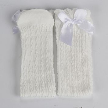 Infant Soft Cotton Knitting Socks Baby Girl Bows Long Socks Children Kids Casual Leg Warmers