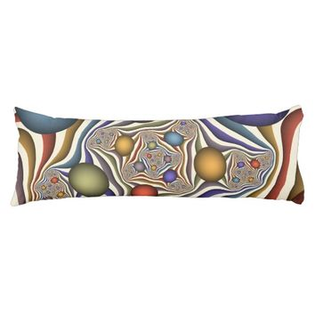 Flying Up, Colorful Modern Abstract Fractal Art Body Pillow