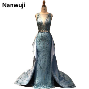 2017 New Real Sample High Collar  Beadings And Crystals Appliques Detachable Train Mermaid Prom Dress
