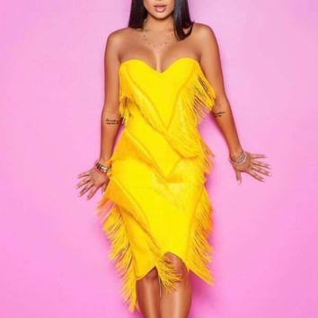 Fashion New Tassel Sexy Strapless Dress Women Yellow