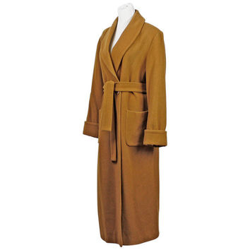 80s wool coat / camel coat / vintage 1980s Harve Benard by Benard Holtzman / long wool winter coat / shawl collar coat / size L XL