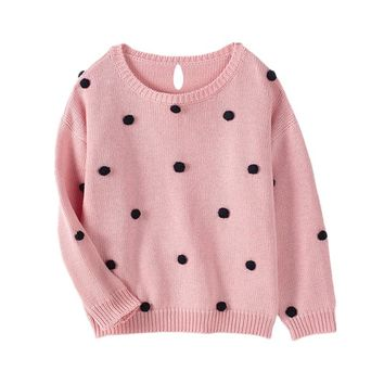 Baby Girls Sweaters Autumn Warm O-neck Pullovers Cute Ball Newborn Clothing Wear Kids Knitted Sweater Baby Winter Clothes