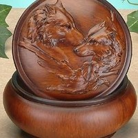 Faux Wood Wolves Jewelry Trinket Box Collectible Decoration Container