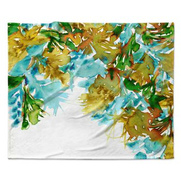 "Ebi Emporium ""Floral Cascade 9"" Yellow Green Fleece Throw Blanket"