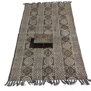 cotton hand woven area printed rug in gray 5 x 3 feet
