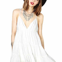 White Strappy V-Neck Dress
