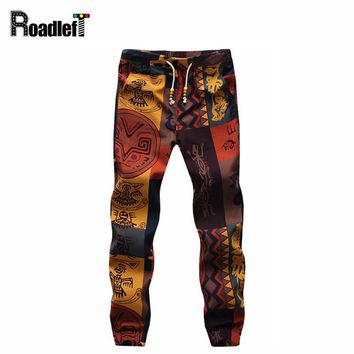 Men's small floral pattern linen pants men hip hop harem pants men casual trousers skinny joggers sweatpants