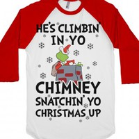 He's Climbin' In Yo Chimney-Unisex White/Red T-Shirt