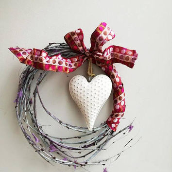 White heart wreath, Christmas wreath with white, metal heart and burgundy ribbons, grey branches Xmas decor wreath with heart, door wreath