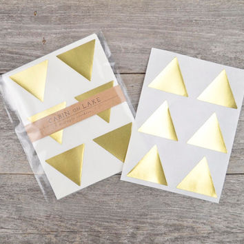 Large Metallic Gold Triangle Stickers - 24 pc