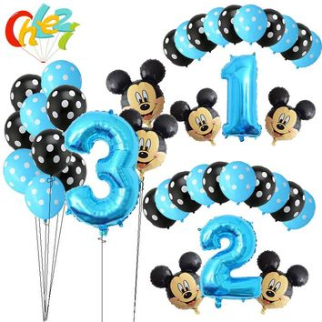 13Pcs Blue Boy Birthday Balloons Mickey Mouse party decorations Number 1 2 3 year baby shower helium Dot latex balloon Kids toy