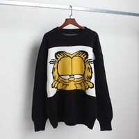 New Korean Cartoon Image Garfield Women's Sweater Cartoon Cute Loose Sweater Pullover Autumn Winter Fashion Girl Clothes Top