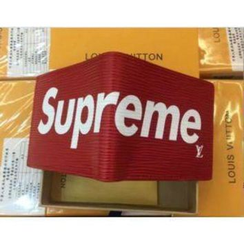 PEAPNU LOUIS VUITTON NEW SUPREME RED WALLET LEATHER WALLET
