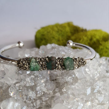Emerald Crystal Cuff Bracelet | Gemstone Bangle | Raw Crystal Jewelry | Silver Pyrite Bracelet | Birthstone Jewelry | Bridal Party Jewelry