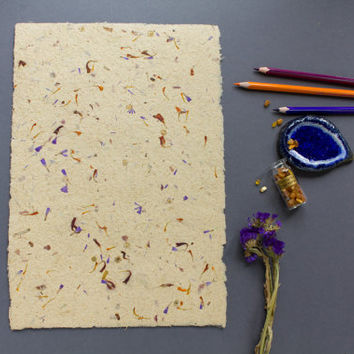 Paper with petals, Flower petal, Handmade paper, Eco friendly paper, Single sheets (#9b)
