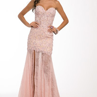 Jovani 93586 Pink Sheer Lace Prom Wedding Dress SALE