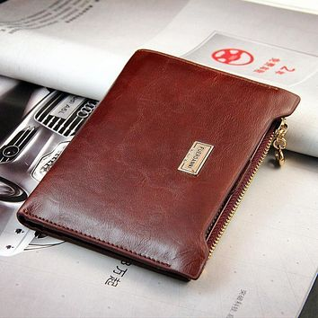 New Women Men Casual Leather Bifold Zipper Wallet Slim Purse Credit Cards Holder