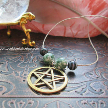 Jade and Black Onyx Pentacle Necklace, White Green Black Pentacle Necklace on Hemp, Antiqued Pentacle, Witchcraft Jewelry