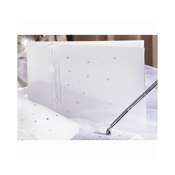 White or Ivory Celebrity Simulated Pearl and Crystal Guest Book - Perfect Wedding Gift