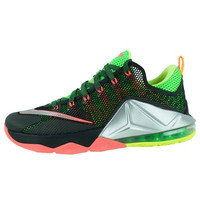Nike Lebron XII Low Black / Volt / Metallic Silver Men Basketball Shoe